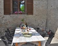 Piantorre terras aangeklede tafel